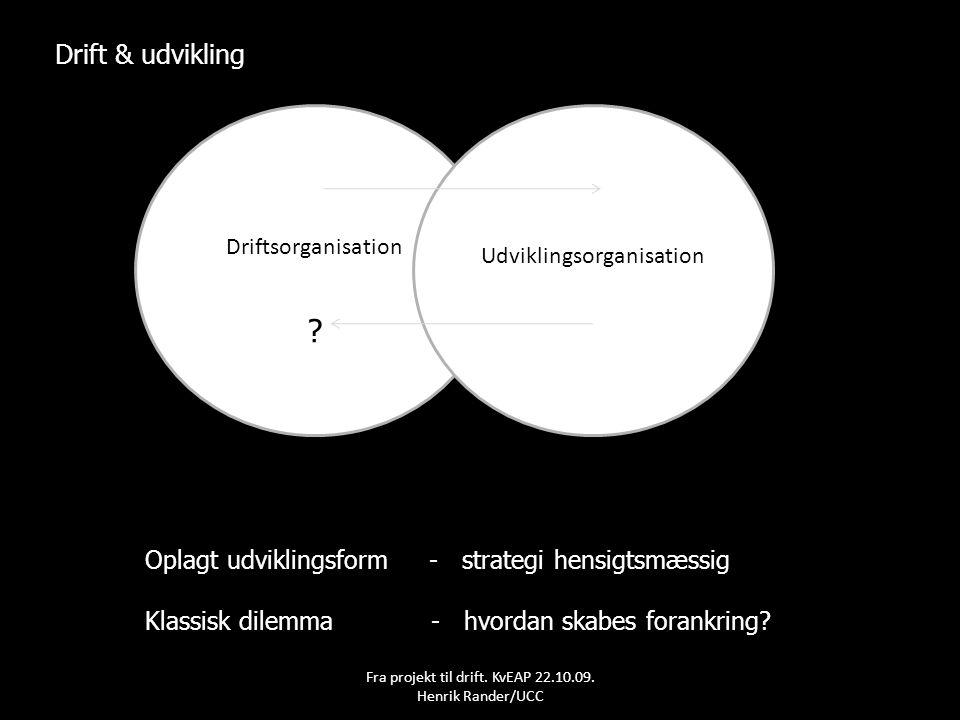 Drift & udvikling Oplagt udviklingsform - strategi hensigtsmæssig