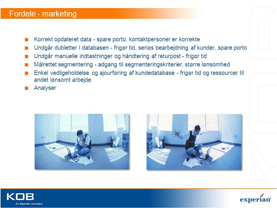 Fordele - marketing Korrekt opdateret data - spare porto, kontaktpersoner er korrekte.