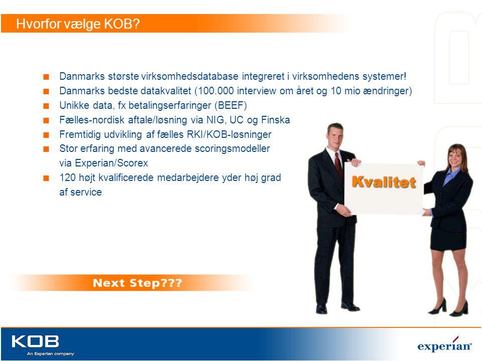 Hvorfor vælge KOB Danmarks største virksomhedsdatabase integreret i virksomhedens systemer!