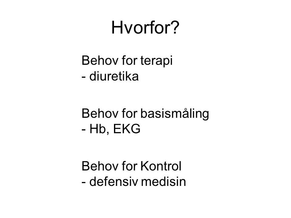 Hvorfor Behov for terapi - diuretika Behov for basismåling - Hb, EKG