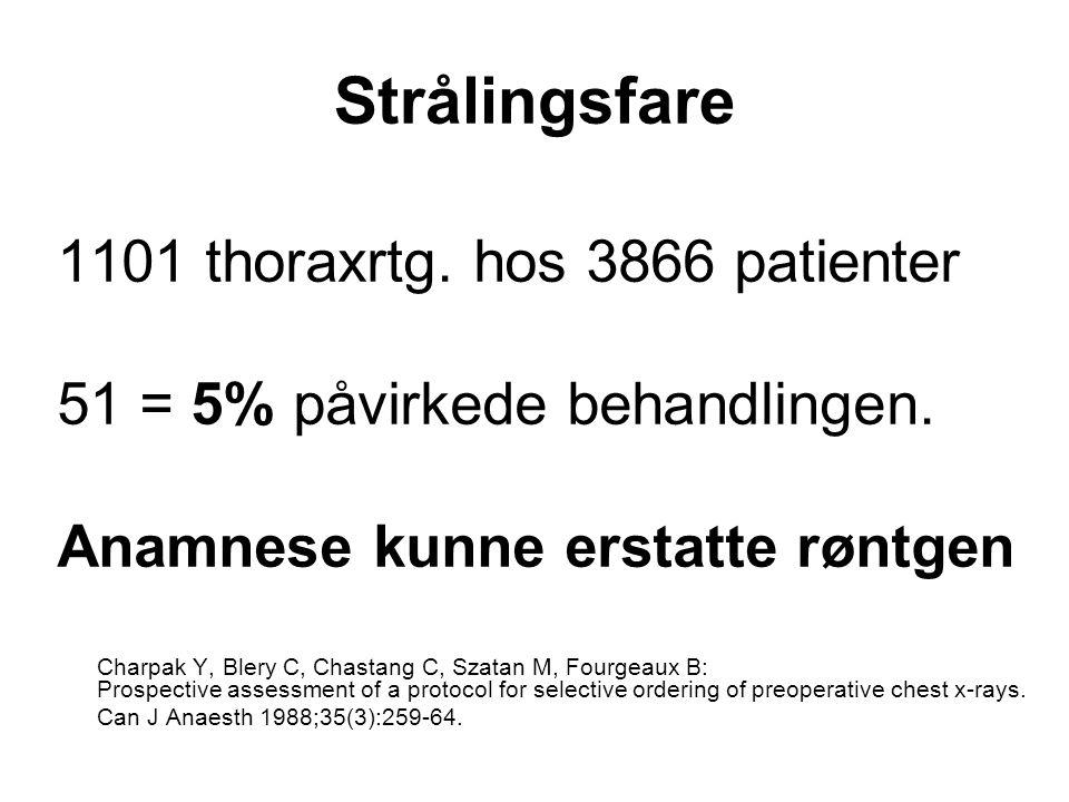 Strålingsfare 1101 thoraxrtg. hos 3866 patienter