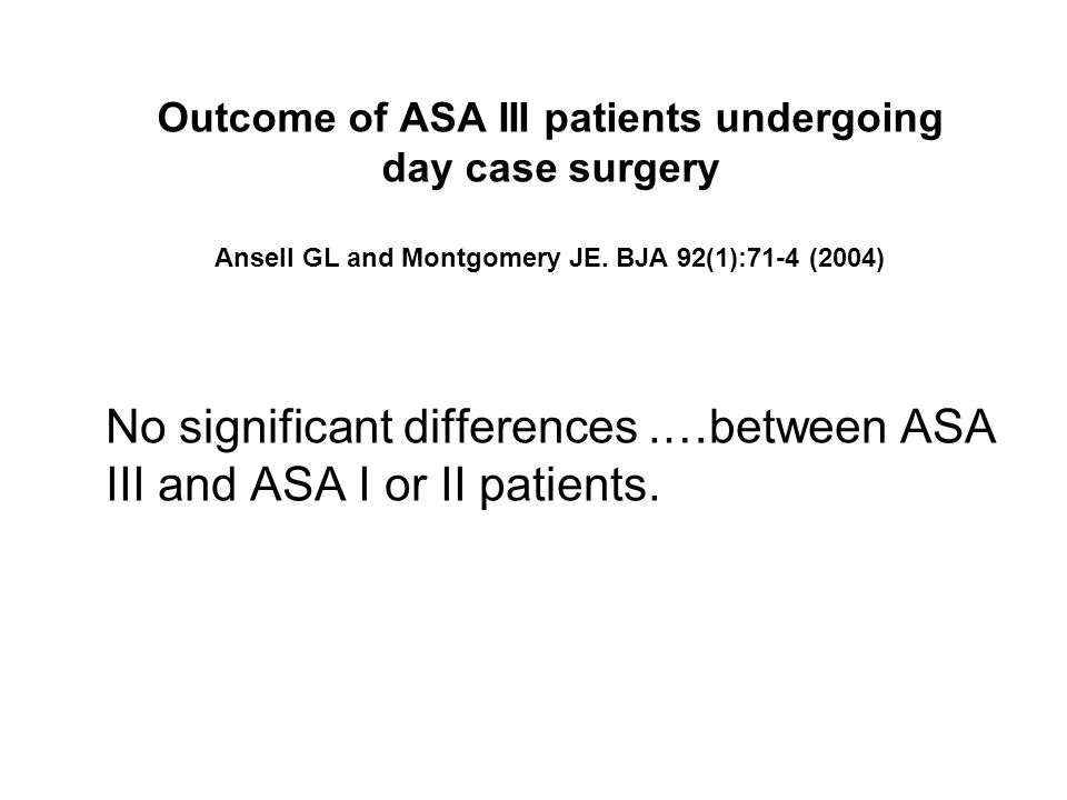 No significant differences .…between ASA III and ASA I or II patients.