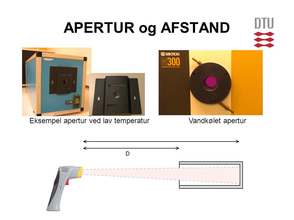 APERTUR og AFSTAND Eksempel apertur ved lav temperatur Vandkølet apertur