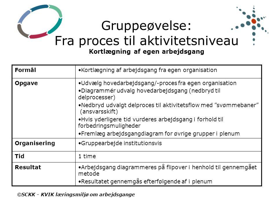 Gruppeøvelse: Fra proces til aktivitetsniveau Kortlægning af egen arbejdsgang