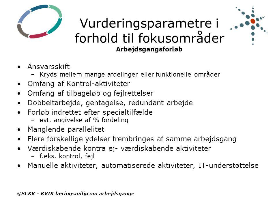 Vurderingsparametre i forhold til fokusområder Arbejdsgangsforløb