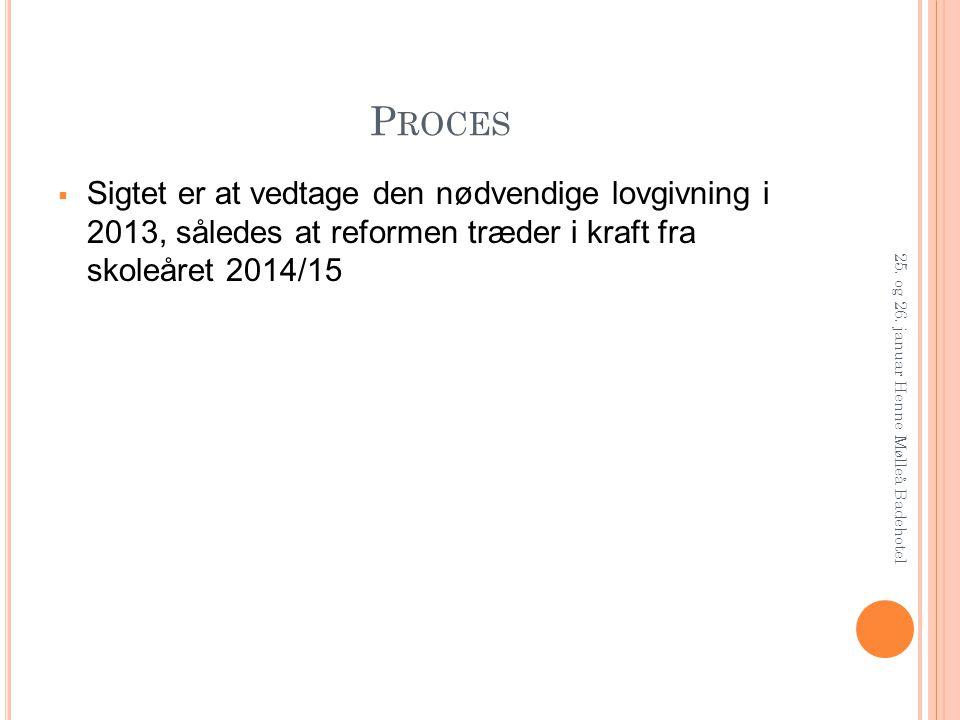 Proces Sigtet er at vedtage den nødvendige lovgivning i 2013, således at reformen træder i kraft fra skoleåret 2014/15.