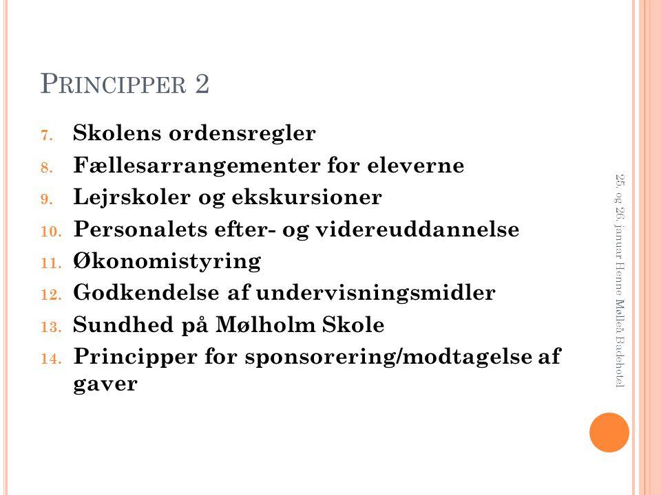 Principper 2 Skolens ordensregler Fællesarrangementer for eleverne