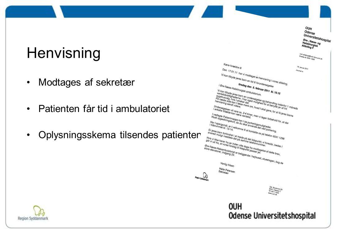 Henvisning Modtages af sekretær Patienten får tid i ambulatoriet