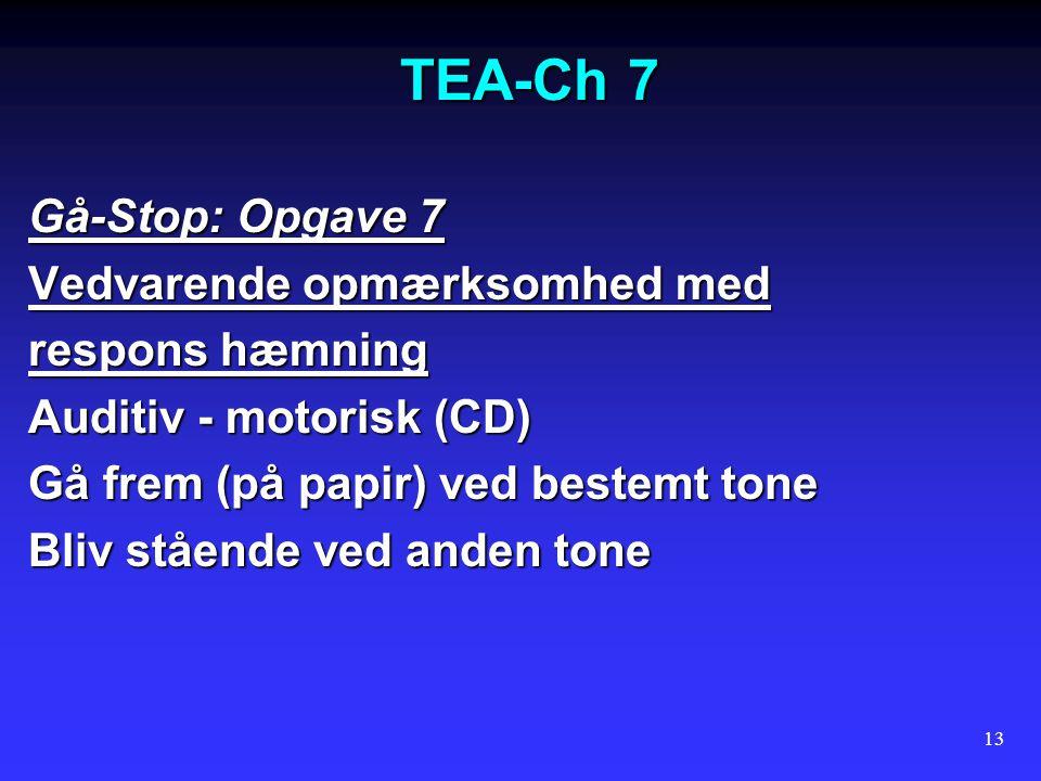 TEA-Ch 7 Gå-Stop: Opgave 7 Vedvarende opmærksomhed med respons hæmning