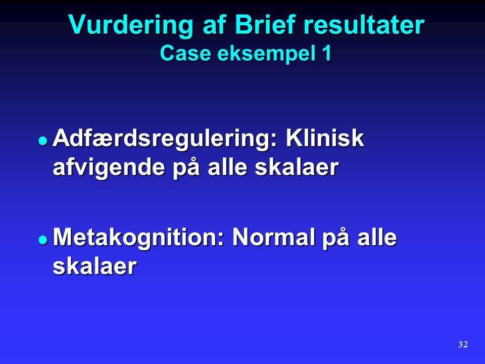 Vurdering af Brief resultater Case eksempel 1