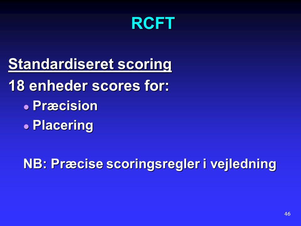 RCFT Standardiseret scoring 18 enheder scores for: Præcision Placering