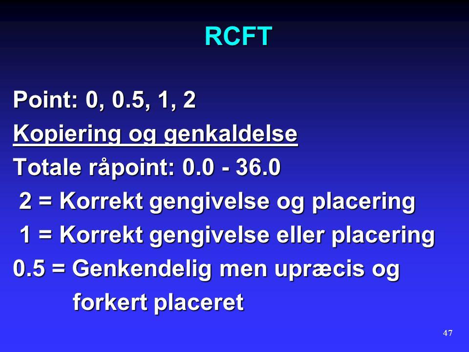 RCFT Point: 0, 0.5, 1, 2 Kopiering og genkaldelse
