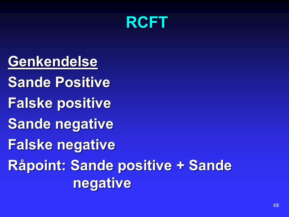 RCFT Genkendelse Sande Positive Falske positive Sande negative