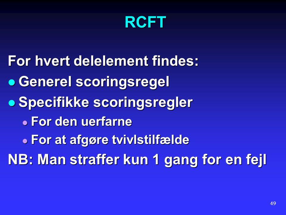 RCFT For hvert delelement findes: Generel scoringsregel