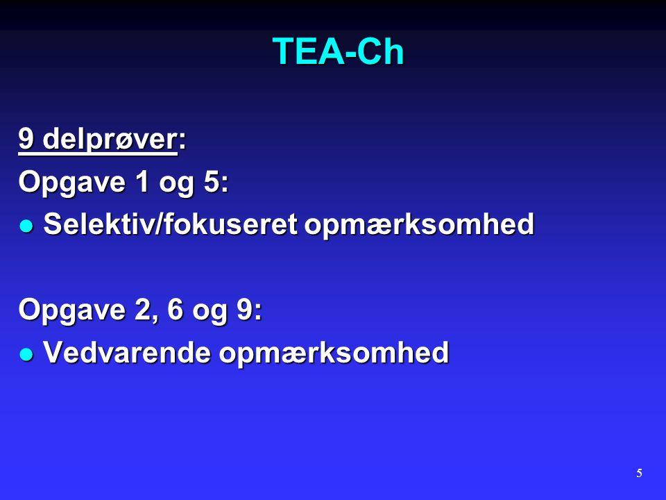 TEA-Ch 9 delprøver: Opgave 1 og 5: Selektiv/fokuseret opmærksomhed