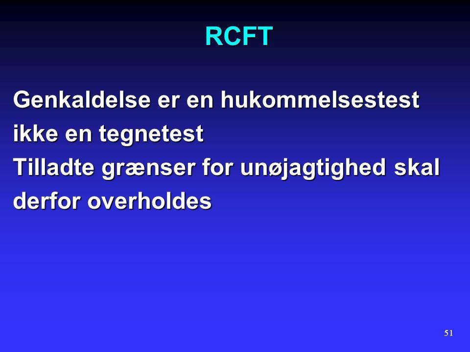 RCFT Genkaldelse er en hukommelsestest ikke en tegnetest