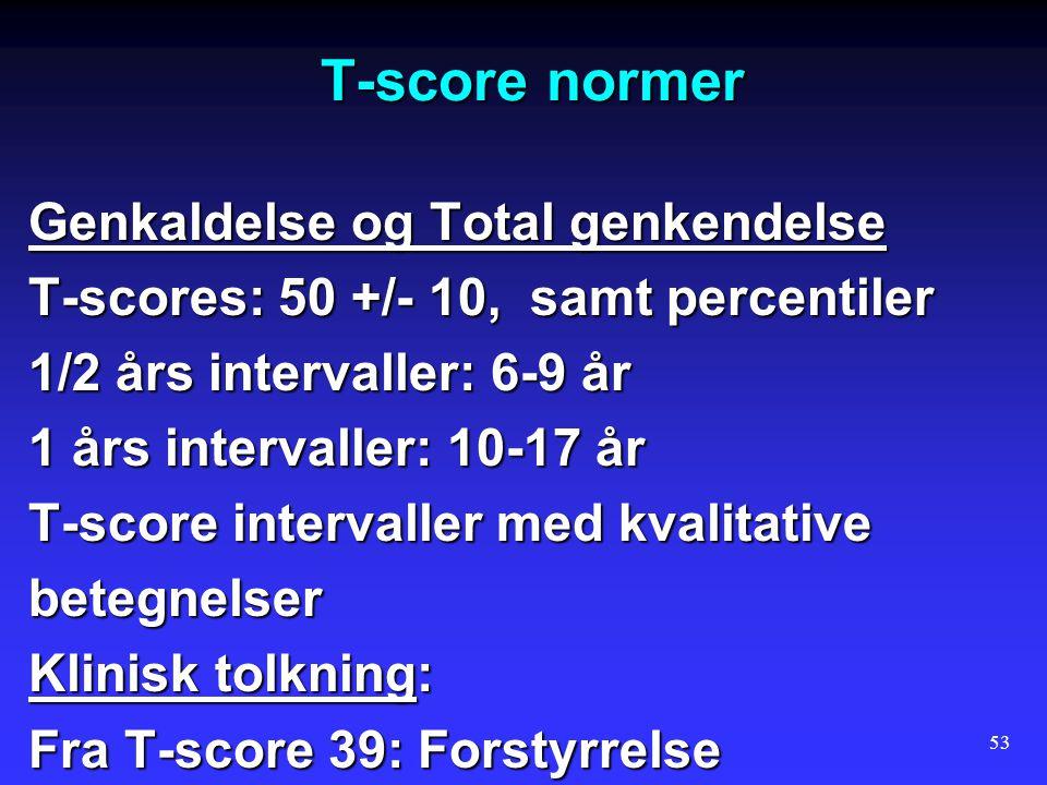 T-score normer Genkaldelse og Total genkendelse