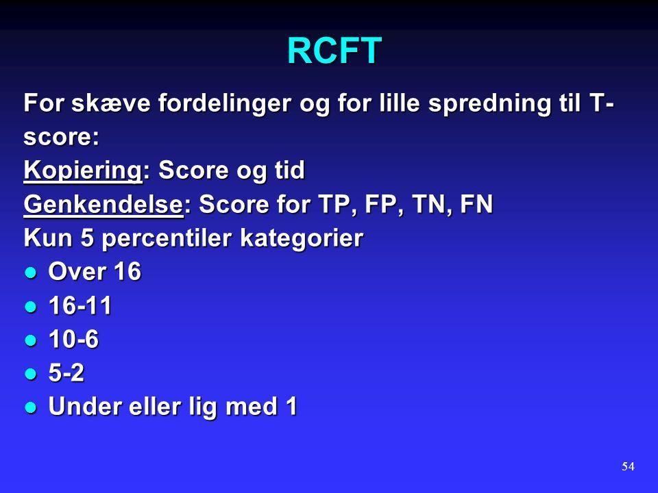 RCFT For skæve fordelinger og for lille spredning til T- score: