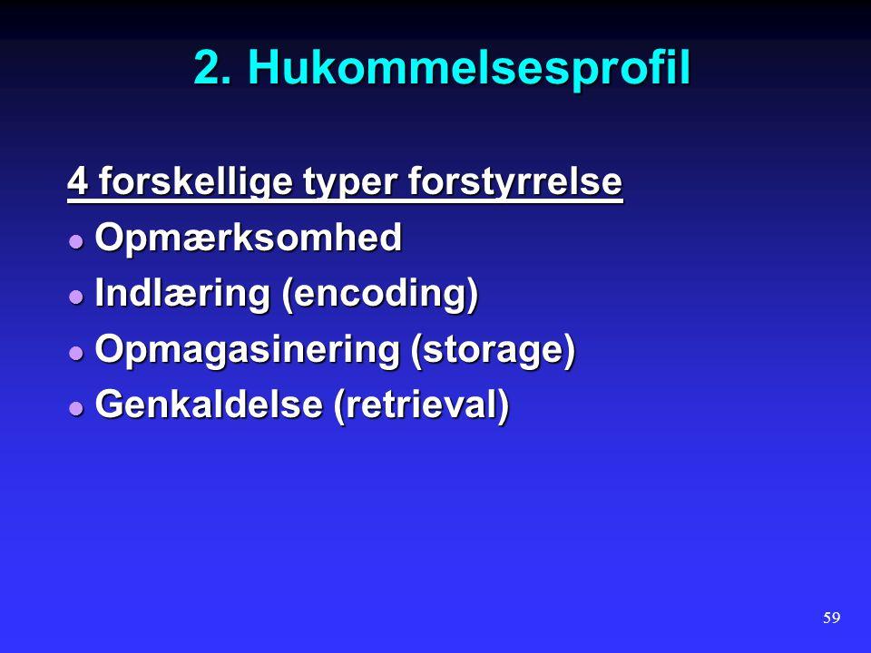 2. Hukommelsesprofil 4 forskellige typer forstyrrelse Opmærksomhed