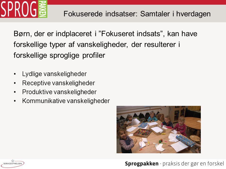 Fokuserede indsatser: Samtaler i hverdagen