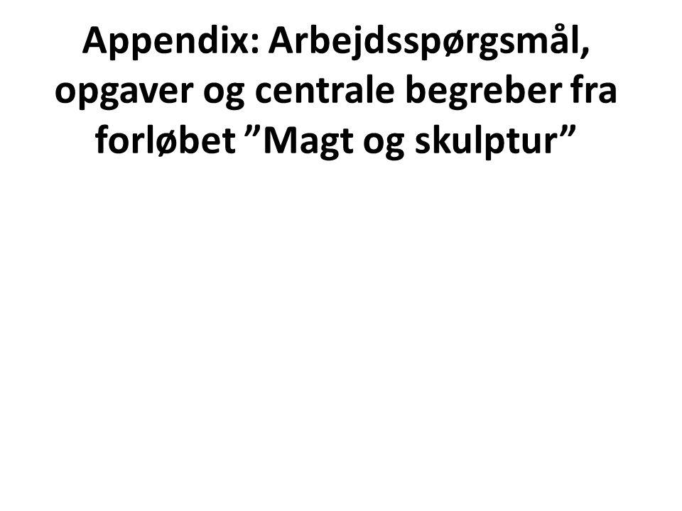 Appendix: Arbejdsspørgsmål, opgaver og centrale begreber fra forløbet Magt og skulptur