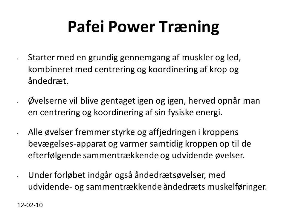 Pafei Power Træning Starter med en grundig gennemgang af muskler og led, kombineret med centrering og koordinering af krop og åndedræt.