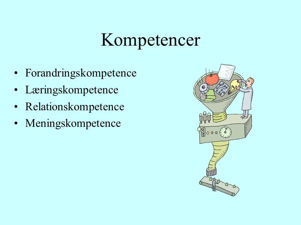 Kompetencer Forandringskompetence Læringskompetence