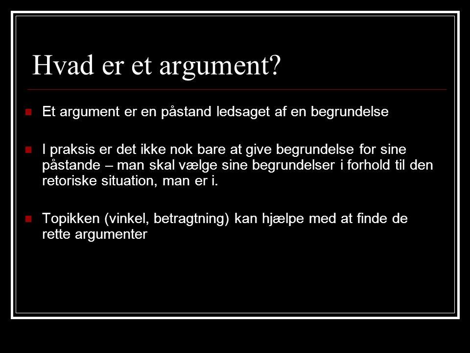 Hvad er et argument Et argument er en påstand ledsaget af en begrundelse.