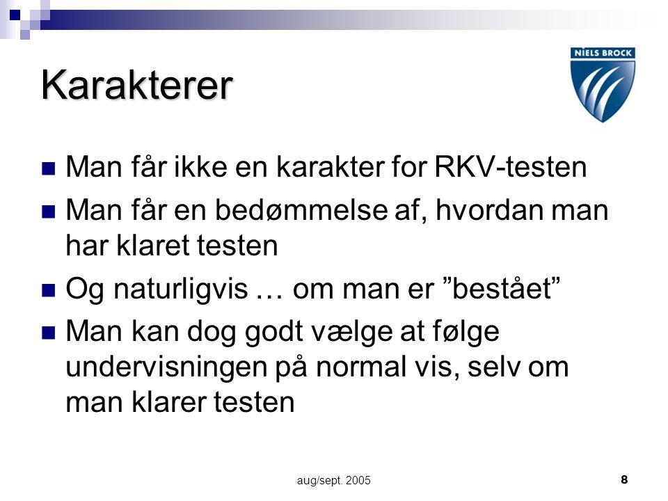 Karakterer Man får ikke en karakter for RKV-testen