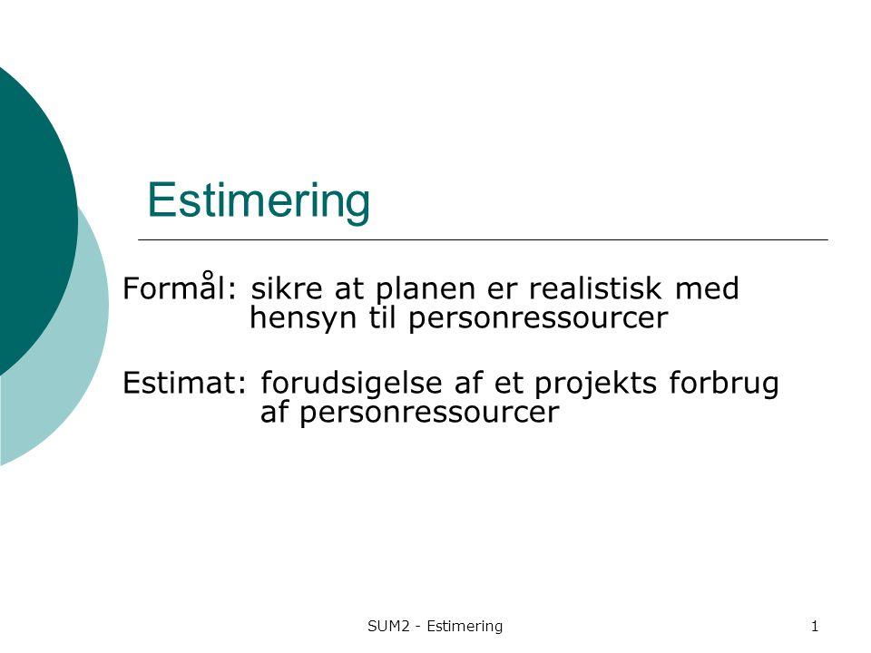 Estimering Formål: sikre at planen er realistisk med hensyn til personressourcer.