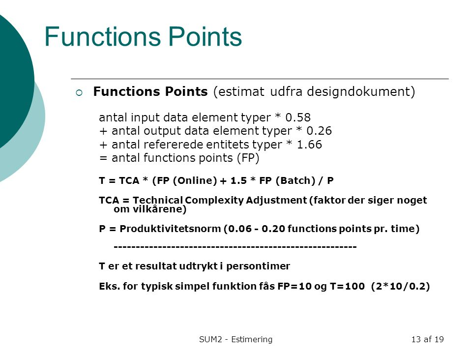 Functions Points Functions Points (estimat udfra designdokument)