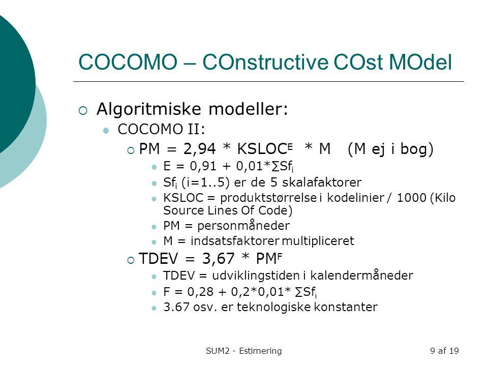 COCOMO – COnstructive COst MOdel