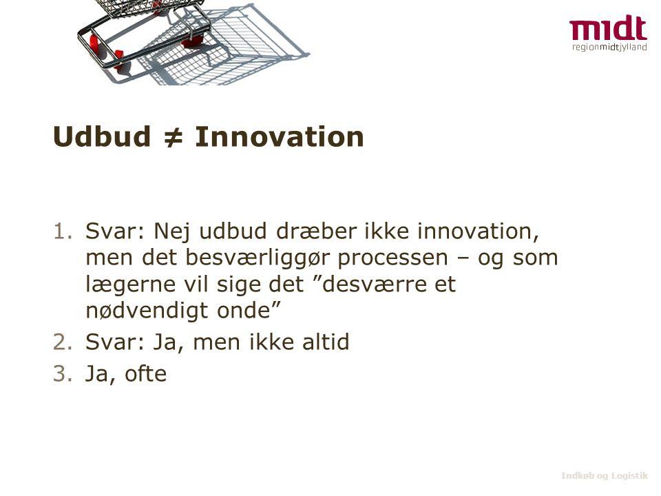 Udbud ≠ Innovation Svar: Nej udbud dræber ikke innovation, men det besværliggør processen – og som lægerne vil sige det desværre et nødvendigt onde