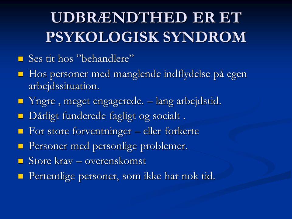 UDBRÆNDTHED ER ET PSYKOLOGISK SYNDROM