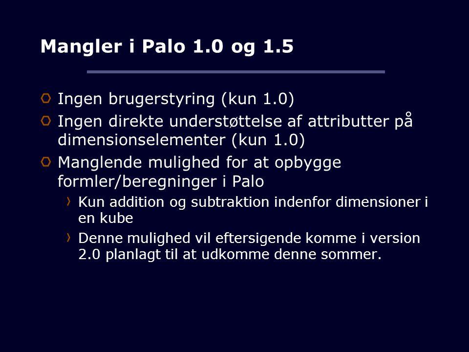 Mangler i Palo 1.0 og 1.5 Ingen brugerstyring (kun 1.0)