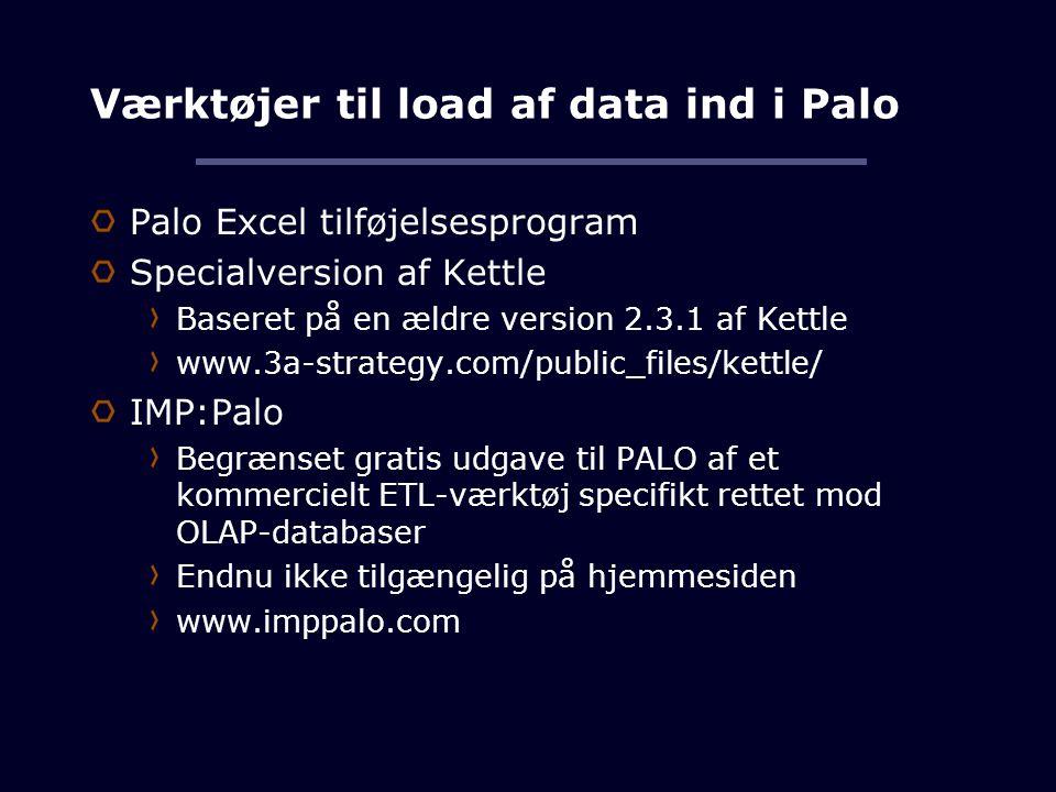 Værktøjer til load af data ind i Palo