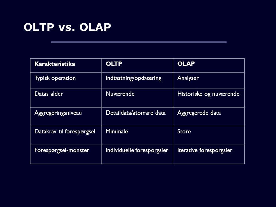OLTP vs. OLAP Karakteristika OLTP OLAP Typisk operation