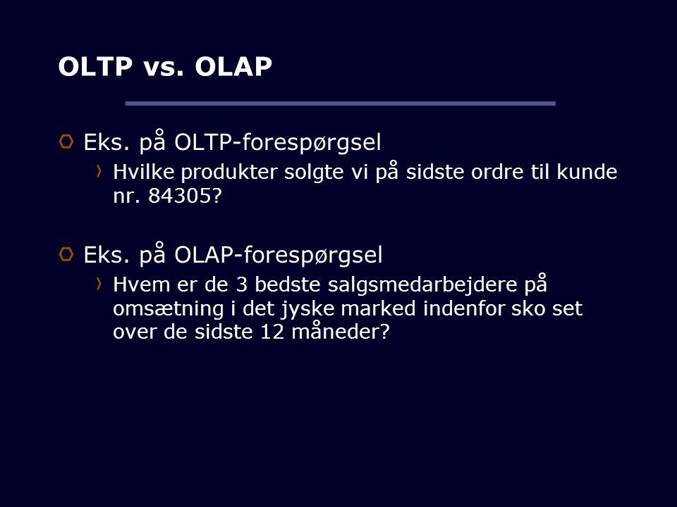 OLTP vs. OLAP Eks. på OLTP-forespørgsel Eks. på OLAP-forespørgsel
