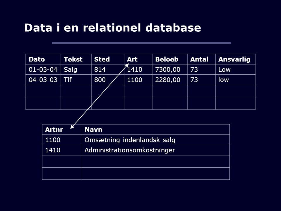 Data i en relationel database