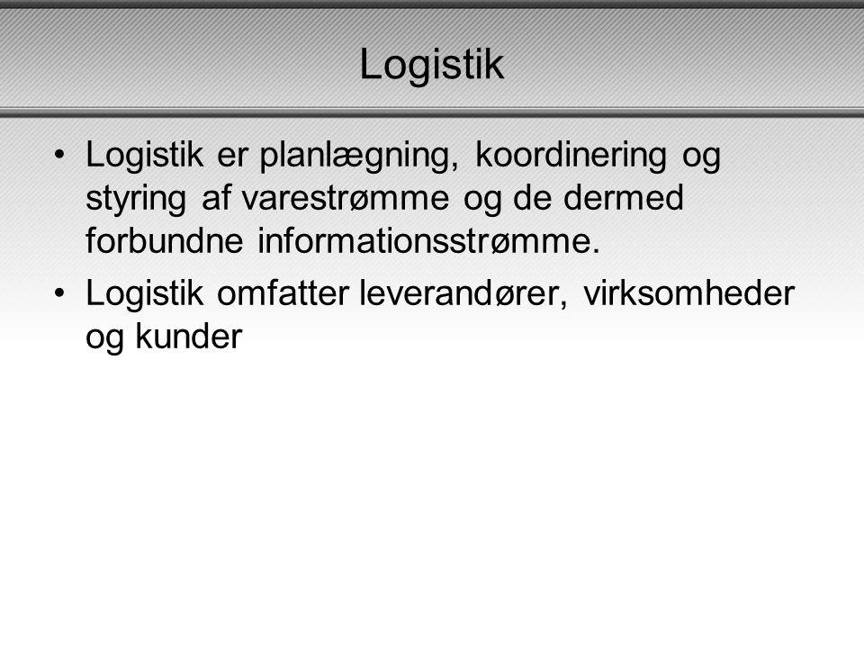 Logistik Logistik er planlægning, koordinering og styring af varestrømme og de dermed forbundne informationsstrømme.