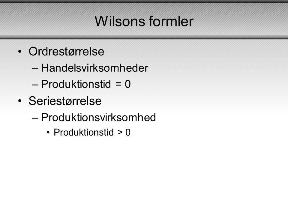 Wilsons formler Ordrestørrelse Seriestørrelse Handelsvirksomheder