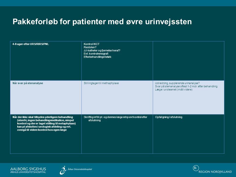Pakkeforløb for patienter med øvre urinvejssten