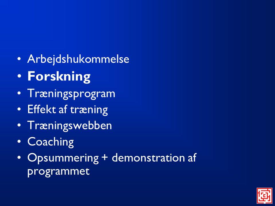 Forskning Arbejdshukommelse Træningsprogram Effekt af træning
