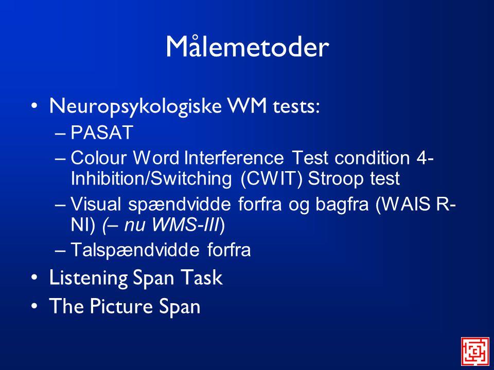 Målemetoder Neuropsykologiske WM tests: Listening Span Task