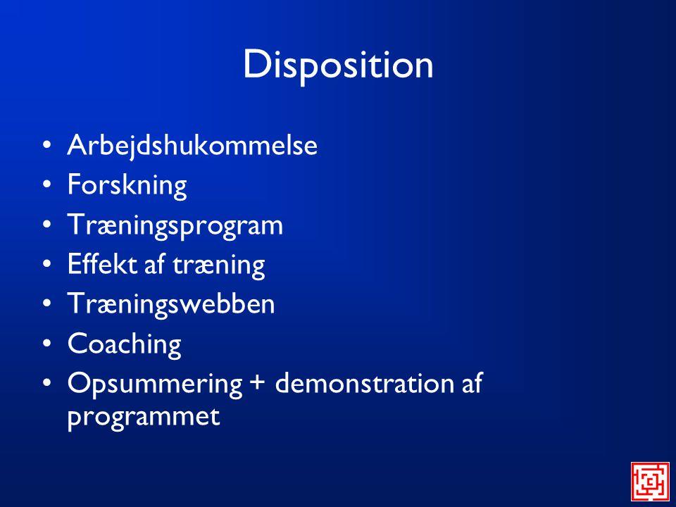 Disposition Arbejdshukommelse Forskning Træningsprogram