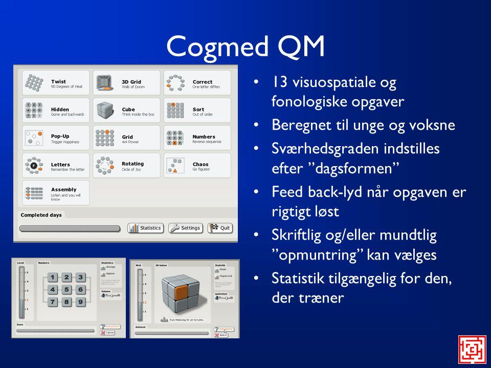 Cogmed QM 13 visuospatiale og fonologiske opgaver