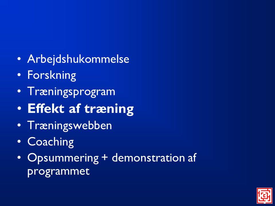 Effekt af træning Arbejdshukommelse Forskning Træningsprogram