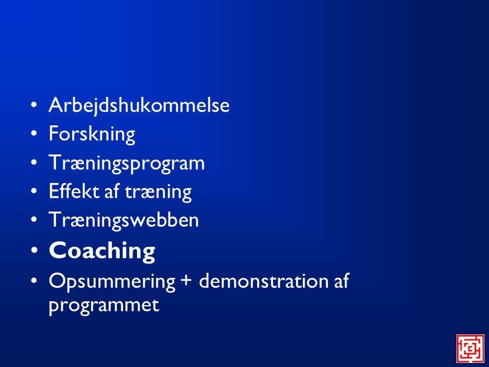 Coaching Arbejdshukommelse Forskning Træningsprogram Effekt af træning