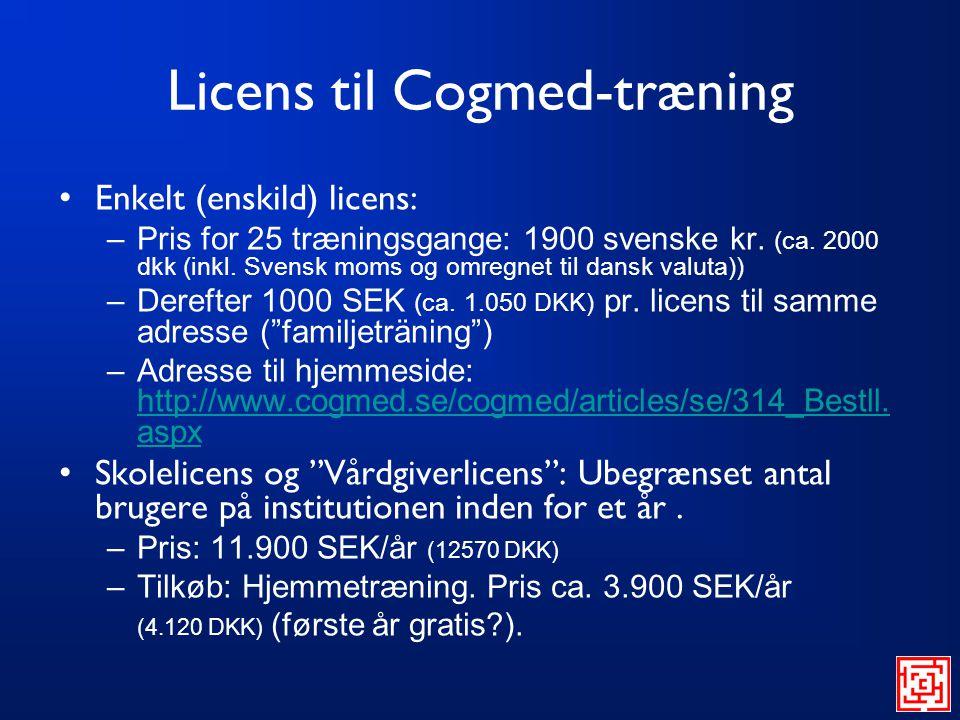 Licens til Cogmed-træning