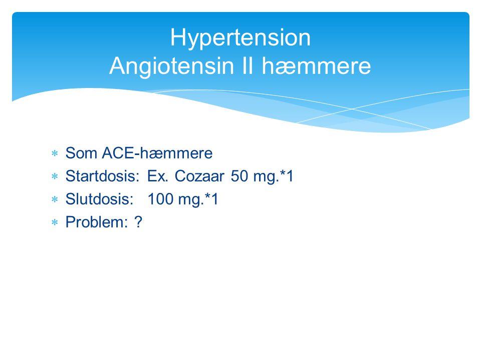 Hypertension Angiotensin II hæmmere